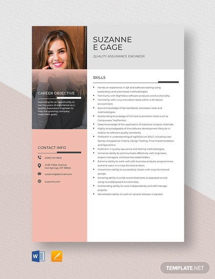 Quality Assurance Engineer Resume Template