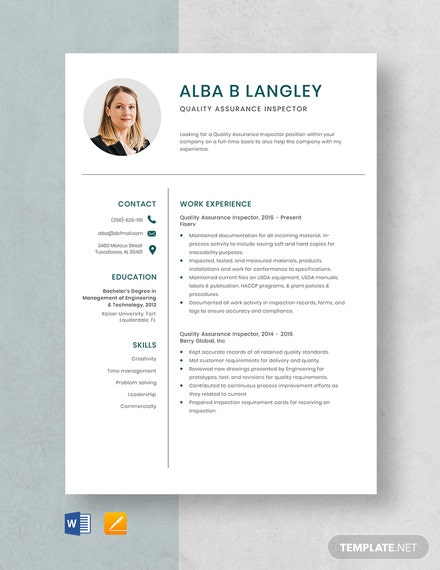 Quality Assurance Inspector Resume Template