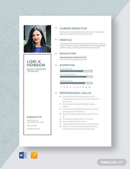 Quality Assurance Technician Resume Template