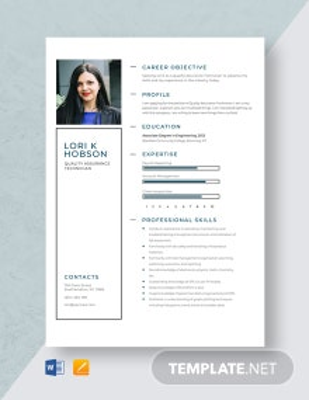 Quality Assurance Technician Resume Template