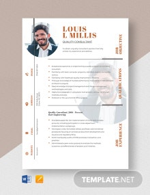 Quality Consultant Resume Template