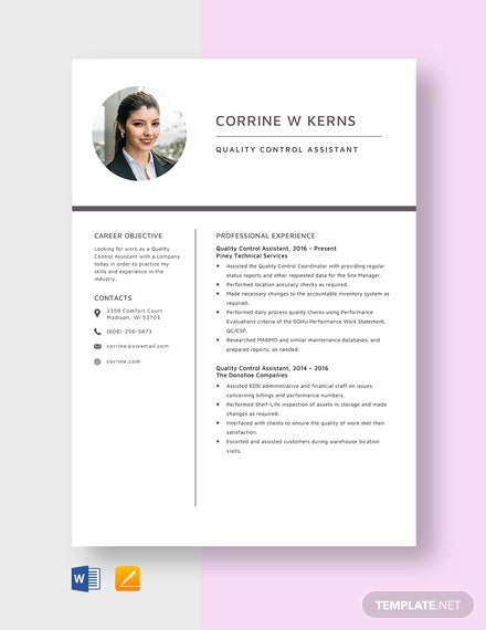 Quality Control Assistant Resume Template