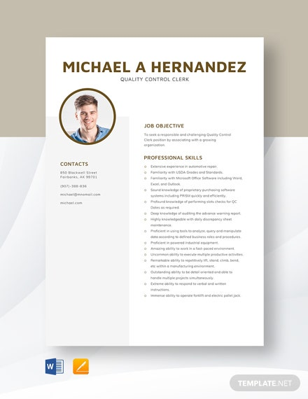 Quality Control Clerk Resume Template