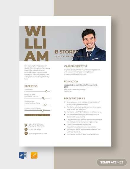 Quality Control Inspector Resume Template