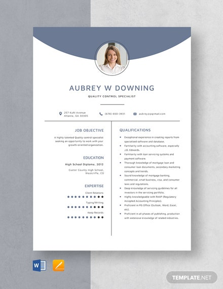 Quality Control Specialist Resume Template