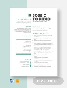 Quality Controller Resume Template