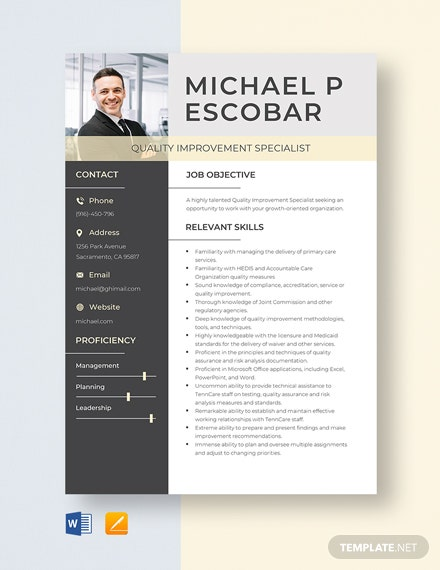 Quality Improvement Specialist Resume Template