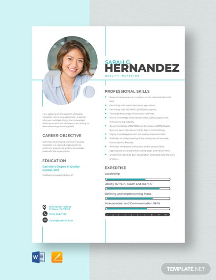 Quality Inspector Resume Template