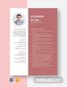 Quality Specialist Resume Template