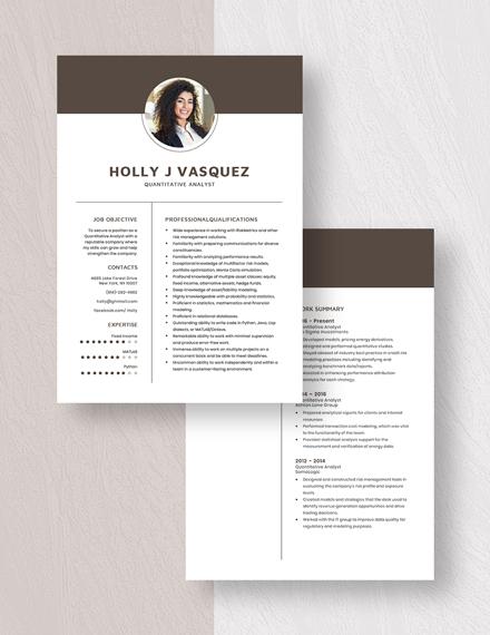 Quantitative Analyst Resume Download