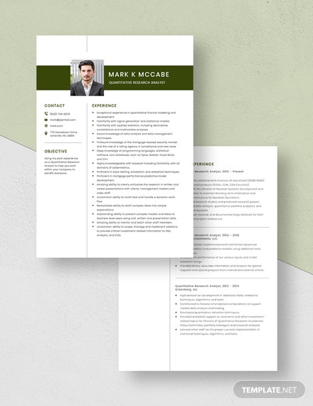 Quantitative Research Analyst Resume Download