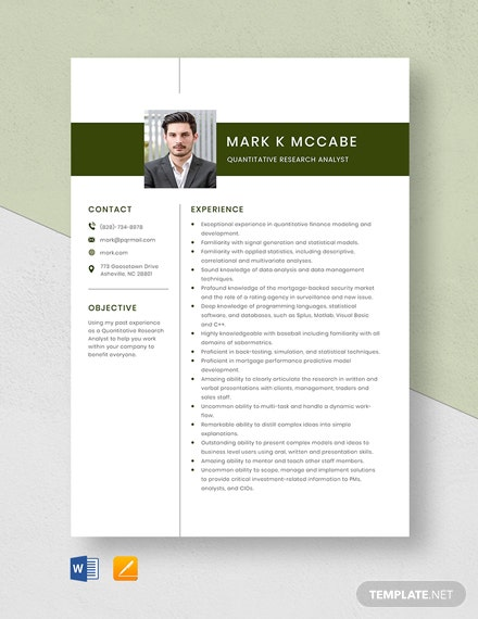 Quantitative Research Analyst Resume Template