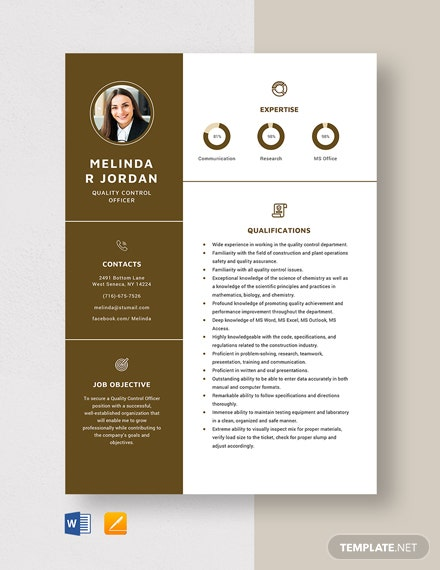 Quality Control Officer Resume Template