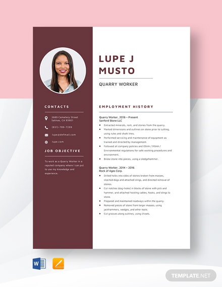 Quarry Worker Resume Template