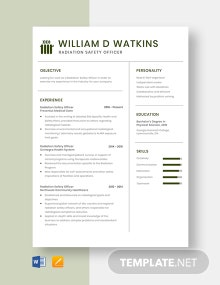 Radiation Safety Officer Resume Template