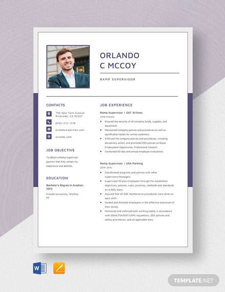 Ramp Supervisor Resume Template