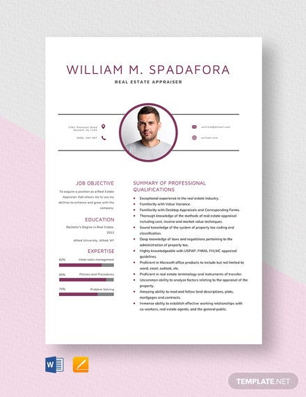 Real Estate Appraiser Resume Template