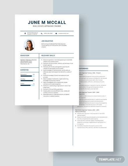 Real Estate Appraiser Trainee Resume Download