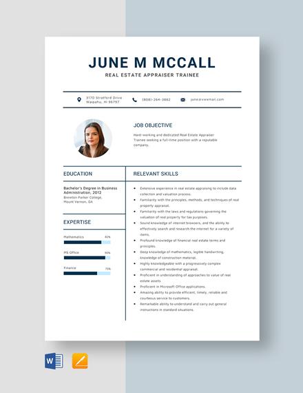 Real Estate Appraiser Trainee Resume Template