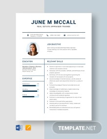 Real Estate Appraiser Trainee Resume Template