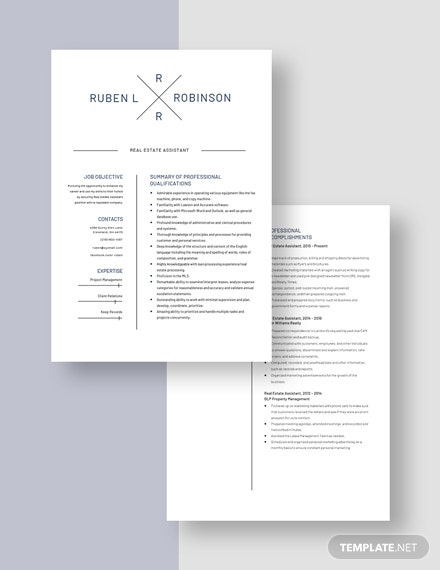 Real Estate Assistant Resume Download