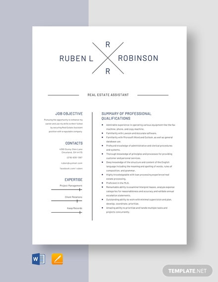 Real Estate Assistant Resume