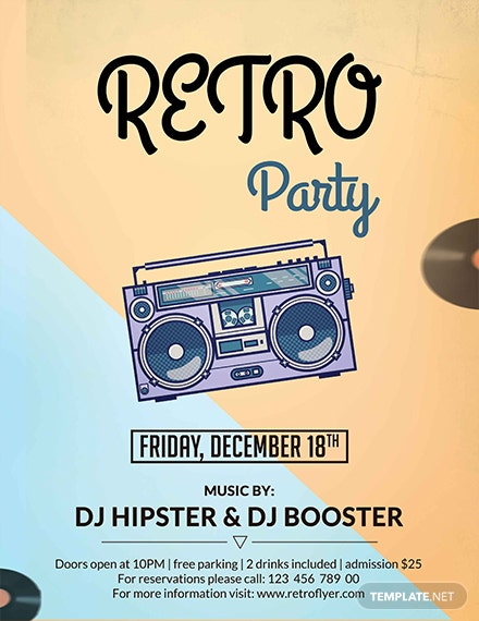 Free Retro Grunge Party Flyer Template