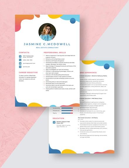 Real Estate Consultant Resume Download
