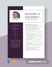 Sales Support Representative Resume Template