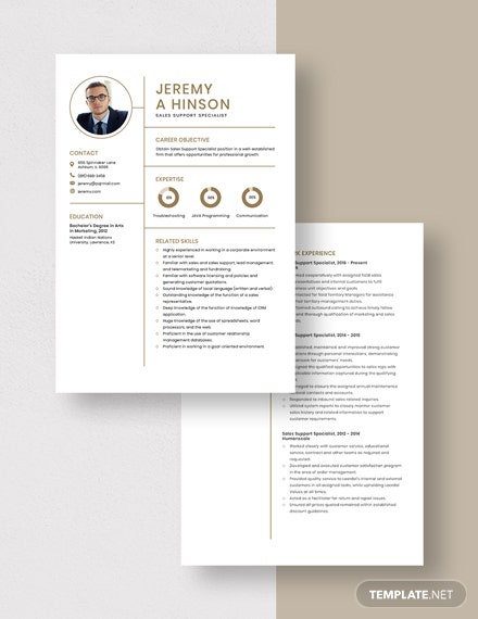 Sales Support Specialist Resume Download
