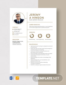 Sales Support Specialist Resume Template
