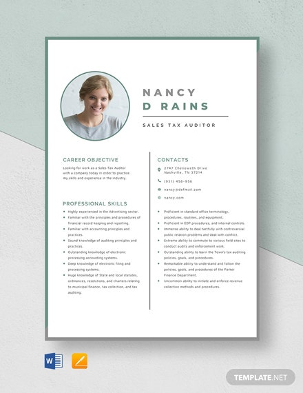 Sales Tax Auditor Resume Template