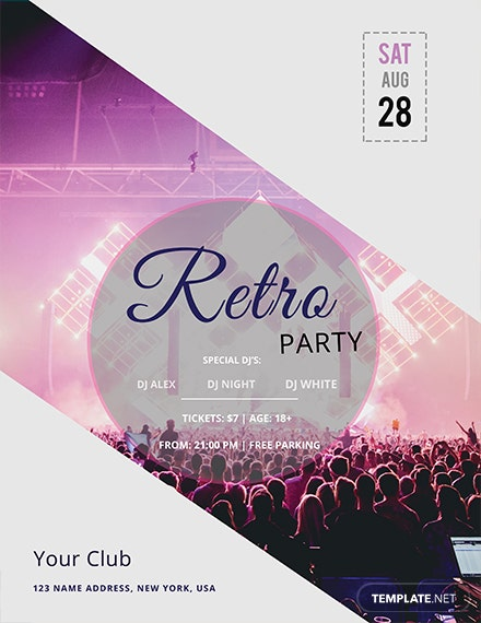 retro mania flyer template 1x