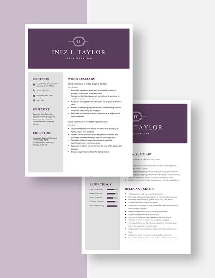 Scrub Technician Resume Download
