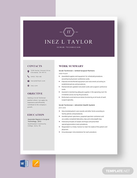 Scrub Technician Resume Template