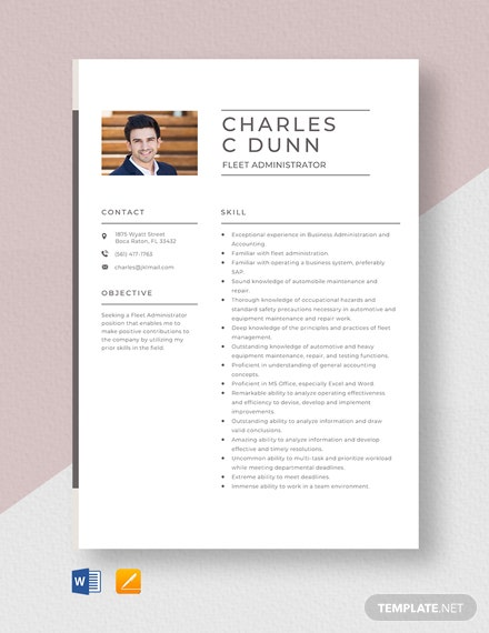 Fleet Administrator Resume Template