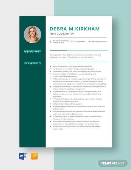 Fleet Coordinator Resume Template