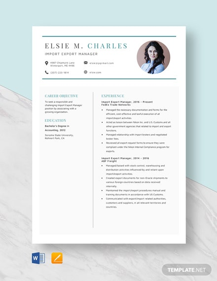 Import Export Manager Resume Template
