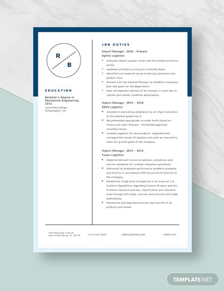 Import Manager Resume Template [Free Pages] - Word, Apple ...