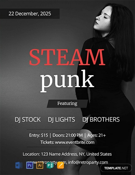Free Steampunk Party Flyer Template