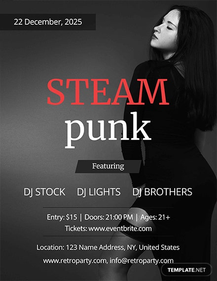 Steampunk Party Flyer Template