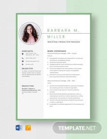 Industrial Production Manager Resume Template