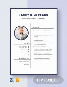 Industrial Relations Manager Resume Template