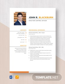 Infection Control Officer Resume Template