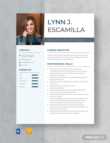 Information Security Manager Resume Template
