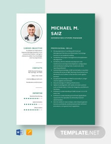Information Systems Manager Resume Template