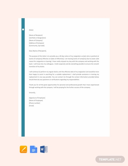 free resignation letter with 30 day notice template