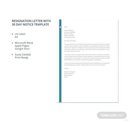 Free Resignation Letter With 30 Day Notice