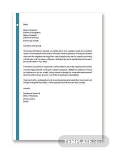 Resignation Letter With 30 Day Notice