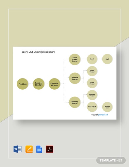 Free Sports Club Organizational Chart Template
